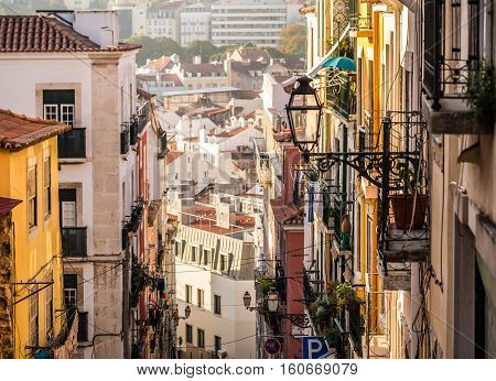 Architecture in the Old Town of Lisbon Portugal.