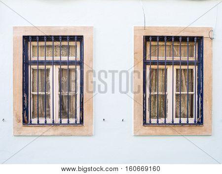 Old windows in Bairro Alto Lisbon Portugal.