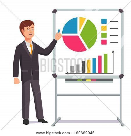 Businessman giving a speech showing sales statistics graph on a whiteboard. Flat style color modern vector illustration.