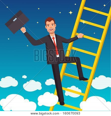 Businessman climbing a ladder of success over the clouds on blue sky background. Flat style vector illustration.