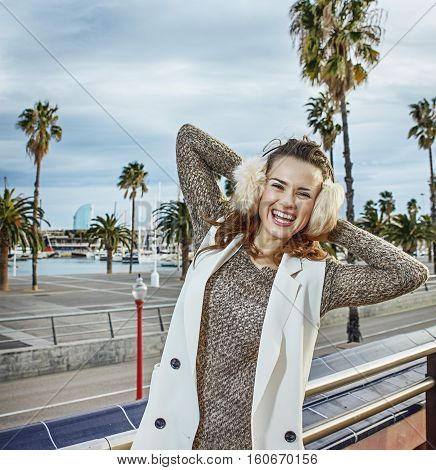 Cheerful Fashion-monger On Embankment In Barcelona, Spain