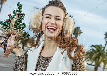 Happy Woman In Barcelona, Spain Showing Little Christmas Tree