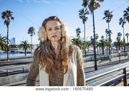 Trendy Tourist Woman On Embankment In Barcelona, Spain