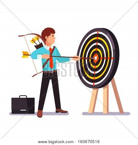 Businessman hitting target holding big arrow in hands. Uncompromising achievement. Flat style vector illustration.