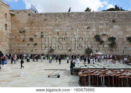 Jerusalem, Israel - November 2 , 2016: Jewish Prayer at the Western Wall in Jerusalem. Israel