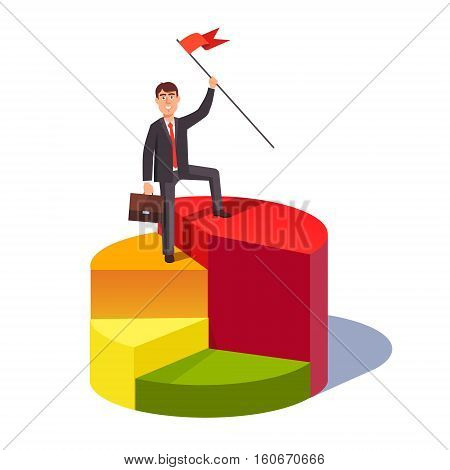Market share leader concept. Business man standing with a flag pole on a largest sector of pie chart. Flat style vector illustration.