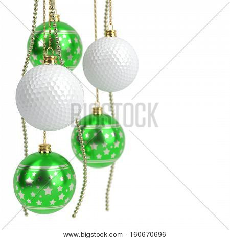 christmas and golf balls isolated on white - 3D illustration