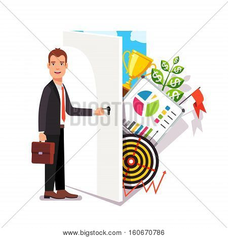 Business career opportunity concept. Opening door to world of entrepreneurship. Modern flat style vector illustration.