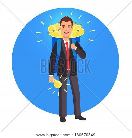 Smart innovator and entrepreneur with a backpack sack full of glowing bright ideas. Flat style vector illustration.