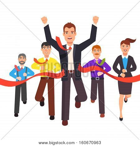 Business man crossing finish line and tearing red ribbon finishing first in a market race. Entrepreneur businessman leader. Flat style vector illustration.