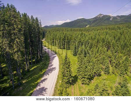 Aerial: Beautiful Mountain Valley Forest Landscape At Summer