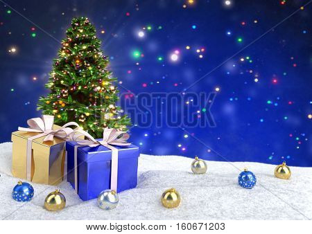 Christmas tree and gifts in snow on bokeh blue background - 3D illustration
