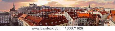 Panorama of old city in Bratislava, Slovakia