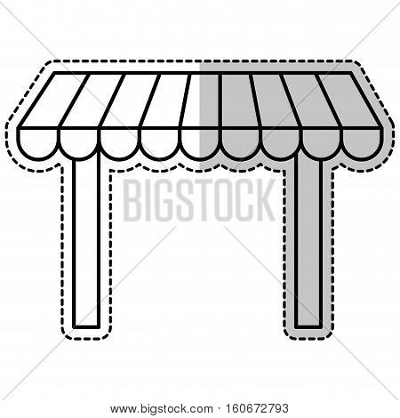 sticker of store awning icon over white background. vector illustration