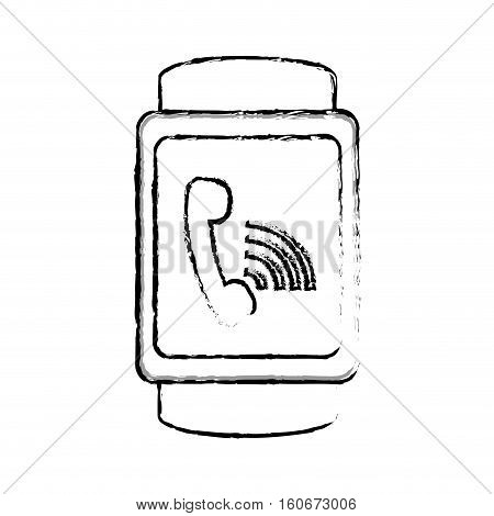silhouette of smart watch with on call icon over white background. wearable technology devices design. vector illustration