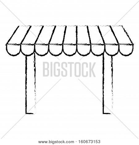 silhouette of store awning icon over white background. vector illustration