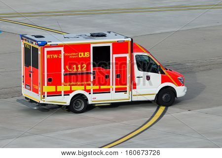 DUSSELDORF GERMANY - DEC 21 2015: Dusseldorf Airport fire brigade van responding to an emergency.