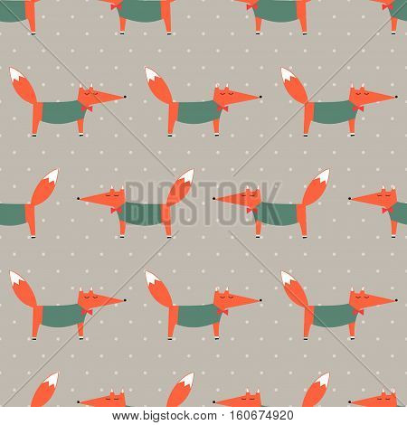 Fox seamless pattern on polka dot background. Cartoon foxy vector illustration. Child drawing style animal background. Fashion design for fabric, textile, decor, wallpaper.