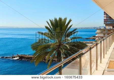 Albufereta at sunny winter day. Costa Blanca Alicante. Spain