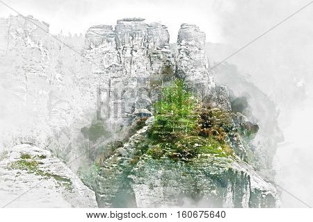 Digital watercolor painting of Bastei. It is a rock formation towering 194 metres above the Elbe River in the Elbe Sandstone Mountains of Germany major landmark of the Saxon Switzerland National Park. Germany