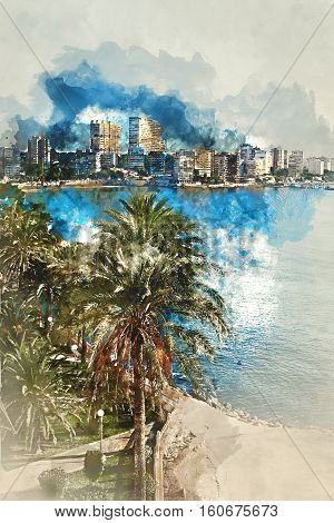 Digital watercolor painting of Albufereta skyline. Costa Blanca Alicante. Spain