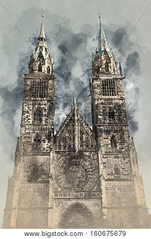 Cathedral of St. Lorenz in Nuremberg Germany. Digital watercolor painting.
