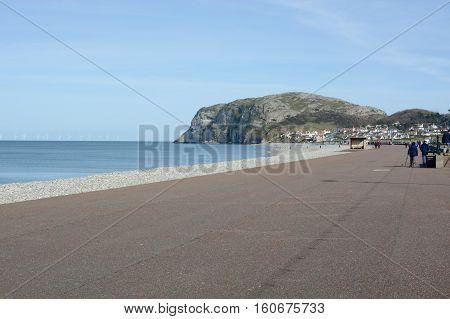 LLANDUDNO, UK - MARCH 25, 2016: Llandudno seafront / promenade, Llandudno, North Wales, UK