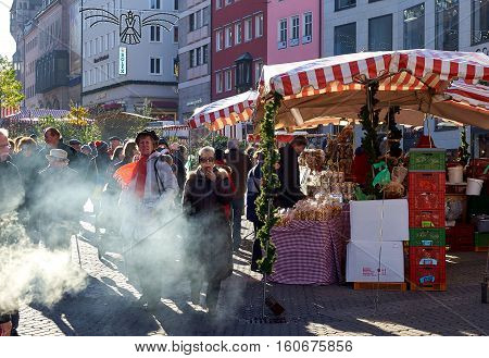Nuremberg Germany - November 29 2016: Crowd of people on a Nuremberg's Christmas Market one of Germany's oldest Christmas fairs. Bavaria Germany