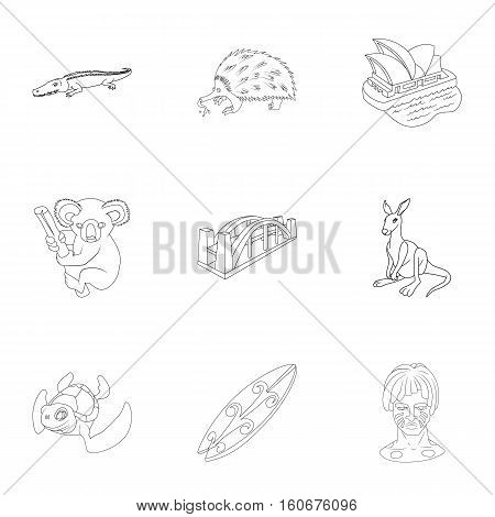 Attractions of Australia icons set. Outline illustration of 9 attractions of Australia vector icons for web