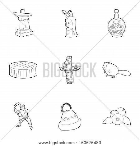 Country Canada icons set. Outline illustration of 9 country Canada vector icons for web
