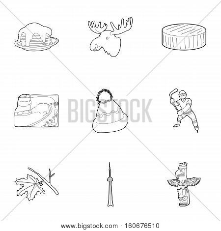 Holiday in Canada icons set. Outline illustration of 9 holiday in Canada vector icons for web