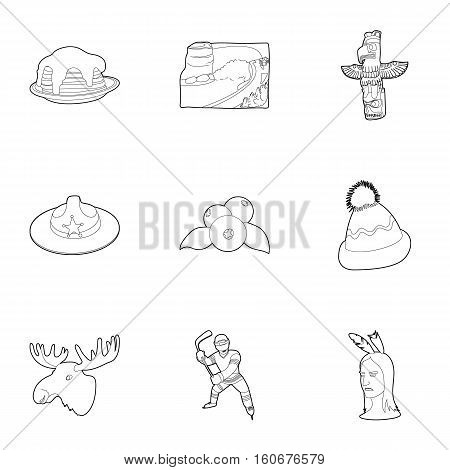 Tourism in Canada icons set. Outline illustration of 9 tourism in Canada vector icons for web