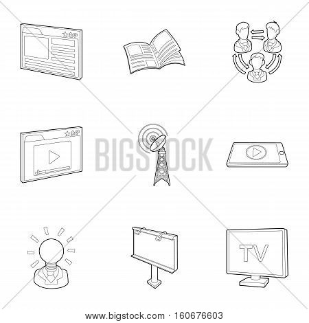 Broadcast icons set. Outline illustration of 9 broadcast vector icons for web