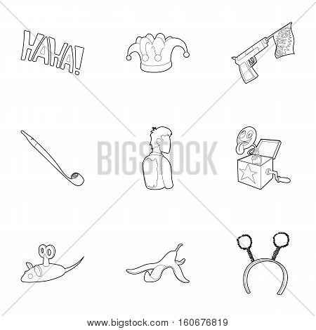 April fool day icons set. Outline illustration of 9 April fool day vector icons for web