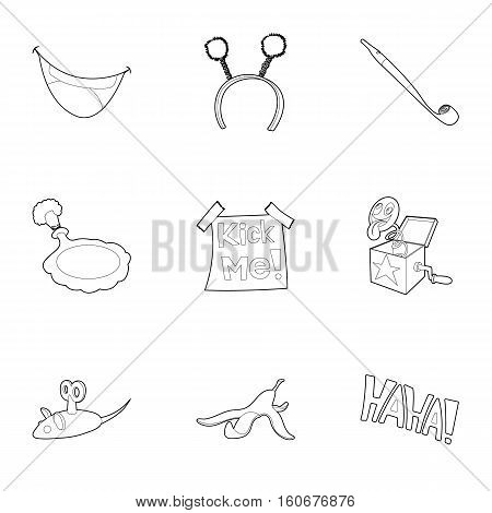 Funny joke icons set. Outline illustration of 9 funny joke vector icons for web