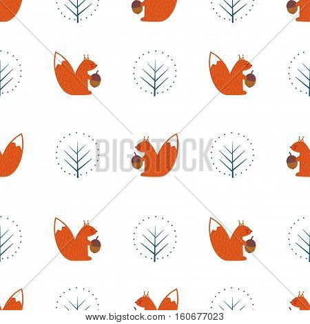 Squirrel with acorn and decorative tree seamless pattern on white background. Cute cartoon animal illustration. Design for fabric, textile, decor.