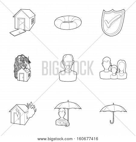 Accident icons set. Outline illustration of 9 accident vector icons for web