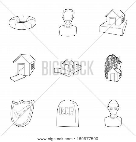 Emergency icons set. Outline illustration of 9 emergency vector icons for web
