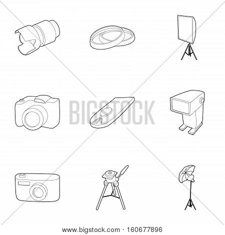 Photography icons set. Outline illustration of 9 photography vector icons for web