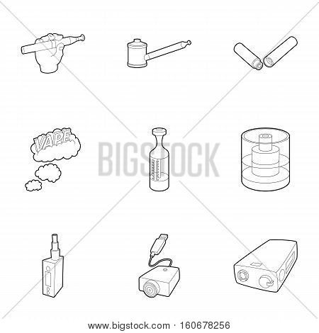 Electronic cigarette icons set. Outline illustration of 9 electronic cigarette vector icons for web