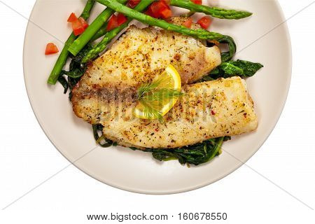 Baked Whitefish Tilapia Fish Fillet Isolated on White. Selective focus.