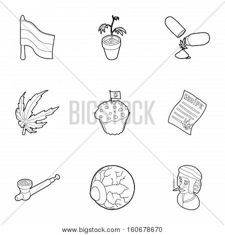Hashish icons set. Outline illustration of 9 hashish vector icons for web