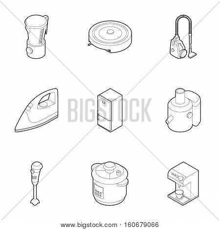 Appliances for kitchen icons set. Outline illustration of 9 appliances for kitchen vector icons for web