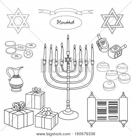 Vector black and white set of Hanukkah objects. Jewish holidays illustration greeting card. Star of David, menorah, dreidel, gelt, presents on white background.