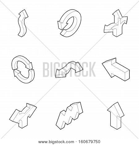 Direction icons set. Outline illustration of 9 direction vector icons for web