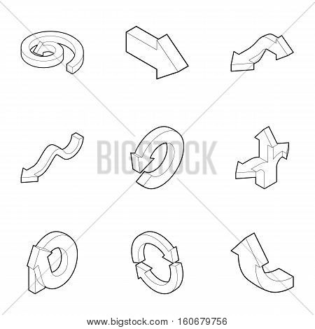 Pointer icons set. Outline illustration of 9 pointer vector icons for web