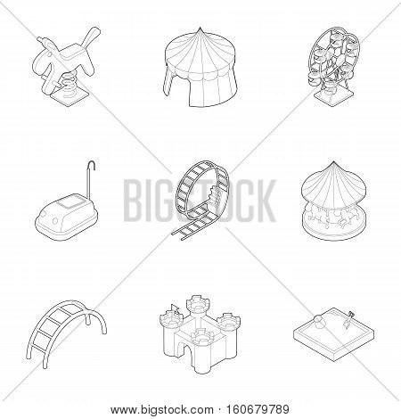 Baby swing icons set. Outline illustration of 9 baby swing vector icons for web