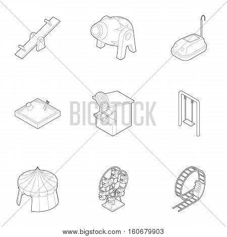 Children games icons set. Outline illustration of 9 children games vector icons for web