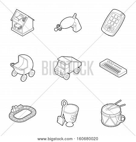 Types of toys icons set. Outline illustration of 9 types of toys vector icons for web