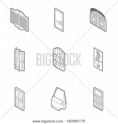 Entrance in house icons set. Outline illustration of 9 entrance in house vector icons for web